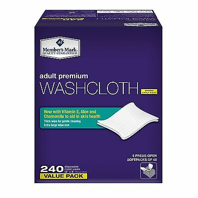 """New Member's Mark Adult Washcloth Disposable Moist Wipes 12"""" x 8"""" - 240 ct"""