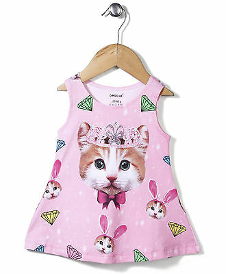 Baby Girls  Kids Frock Size 000,00,0 -  Kitty With Crown Print- Pink - Lycra