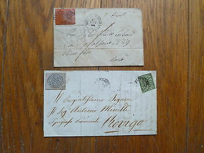 Italy / Papal, 2  Covers, 19Th Century With Stamps