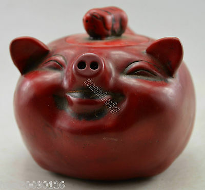 Collectible Decorated Old Handwork Coral Carved Lovely Pig Tea Pot