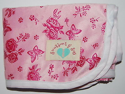 Minky Baby Nappy Change Mat Super Soft ROSES & BUTTERFLIES Waterproof Washable