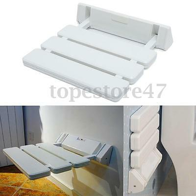 Home Bath Wall Mounted White Folding Shower Seat Foldable Stool For Bathroom NEW
