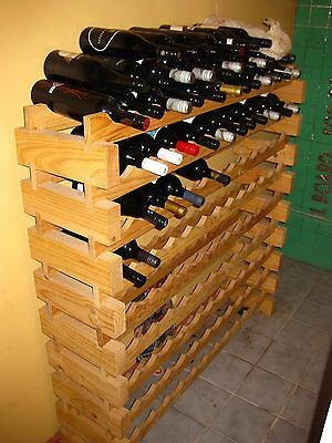 SOLID PINE TIMBER WINE RACK -108 Bottle Storage - Wooden Cellar Stand - As New
