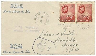 "Seychelles WW2 cover with ""PASSED BY CENSOR, Seychelles, No. 2"" to USA"