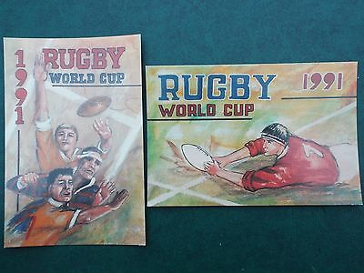 1991 pair of colour postcards marking the Rugby World Cup.
