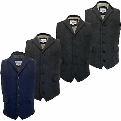 Mens Waistcoat Wool Mix Cavani Formal Vest Herringbone Tweed Check Party Smart