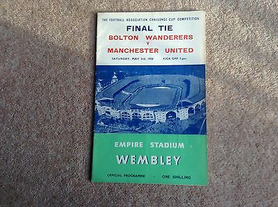 FA cup final programme 1958 Manchester United v Bolton Wanderers