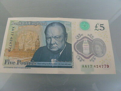 Five Pound Note Prefix AA17 Collectible and in very good condition