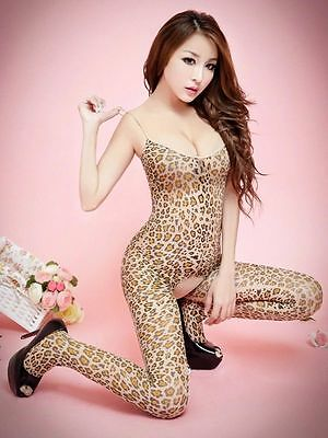Catsuit Lingerie Body Collant Sexy Ouvert Resille Maille Filet Motifs Leopard