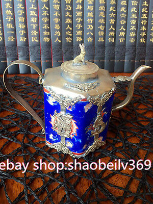 Lion Armored China Porcelain Copper Collectable Handwork Old Rabbit Tea Pot
