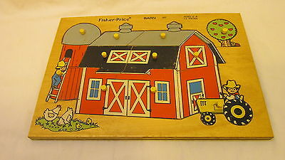 VINTAGE 1970's FISHER PRICE BARN WOOD PUZZLE #501 13 PIECES FOR AGES 3-6
