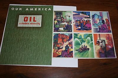 1940'S COCA COLA OUR AMERICA OIL BOOK with UNCUT SHEET OF 20 CARDS
