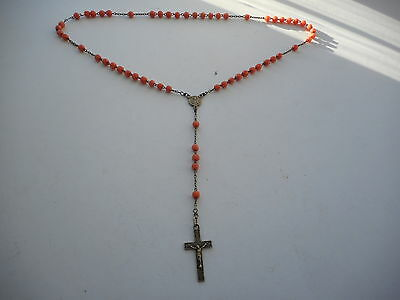 Vintage  Antique French Silver Plate Coral Red Coloured Glass Bead Rosary