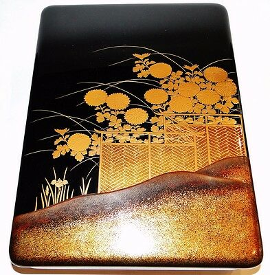 Lg Very Fine Quality Japanese Lacquer Covered Box Super Decor Flower Garden 1930