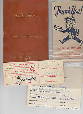 Trans Canada Airlines 1961 Boarding Pass Etc Sault Ste Marie Ontario
