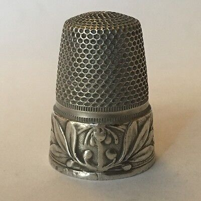 Vintage Antique Silver Thimble with FLOWERS