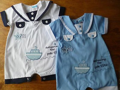 Bnwt Sailor Ship Motif  Romper White Or Sky Blue  0/3,3/6,6/9 Months