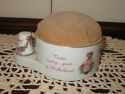 A Mother's Remembrance Pin Cushion & Thimble Made Of Porcelain