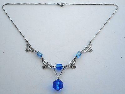 Good Vintage Art Deco Plated Metal Giardinetto Panel & Blue Glass Bead Necklace