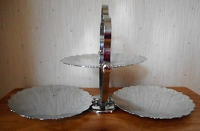 Vintage 3 tier chrome cake stand. Solid plates & engraved flowers to the rims