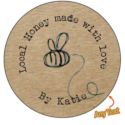 HANDMADE Personalised HONEY BEE Shabby Brown Kraft Effect Favour Stickers -144