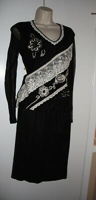 Gorgeous NWT Embellished  Black top M with Black wool skirt 8