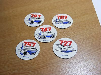 FIVE BOEING FRIDGE MAGNETS FROM THE 1980's