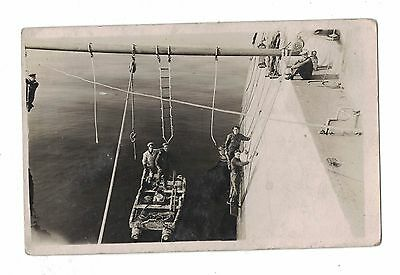 NAVY  Group of Sailors PAINTING onboard Ship REAL PHOTOGRAPHIC PC Unused NAVAL