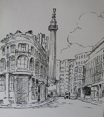 Sir Hugh Casson,pen and ink drawing,the Monument,London