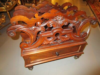 Period Antique English Regency Hand Carved Rosewood Canterbury with Draw c1830