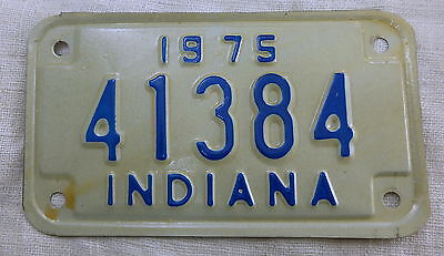 Vintage 1975 Motorcycle Indiana Cycle License Plate IN 75 #41384 IND