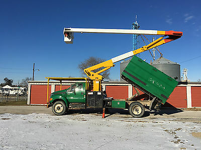 2009 Ford F750 65' Lift All Over Center Chipper Dump Forestry Bucket Boom Truck