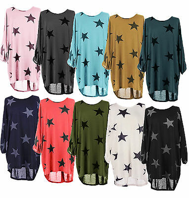 Ladies Batwing Stars Print Lagenlook Fine Knitted Baggy Tunic Top Plus Size 8-26