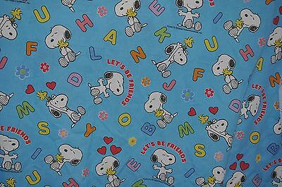 PEANUTS GANG / SNOOPY Let's be Friends FLAT BED SHEET 1980s