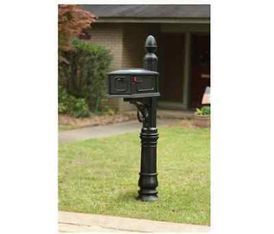 New Heavy Duty All-In-One Stratford Mailbox Post Combination, Black