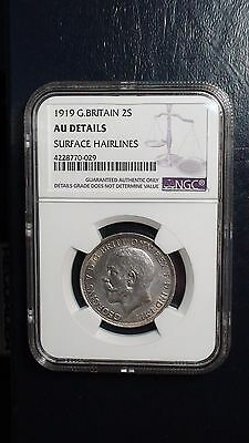 1919 Two Shillings Great Britain NGC AU Details 2S Silver Coin PRICED TO SELL