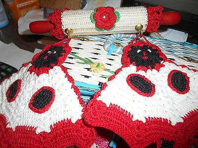 Crochet Covered Child's Rolling Pin w/ 2 black, red, white potholders