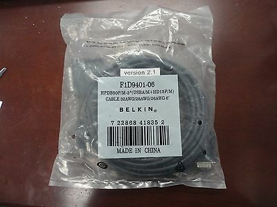 New Genuine Belkin 6' F1D9401-06 Version 2.1 Omniview Dual Port Kvm Cable