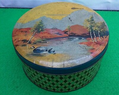 Vintage  Biscuit Tin Toffee Tin Or Sewing Tin,  Shabby Chic.