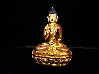 "chinese tibet gilt bronze seated buddha holding jar 4.5""  early 20th c QUALITY"