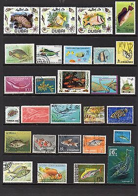 THEMATICS 55 Fish on stamps.