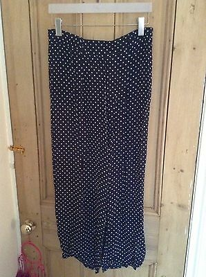 Vintage B&W Mesh Opaque Polka Dot Print Trousers Flares Wide Leg 90s M Uk 12