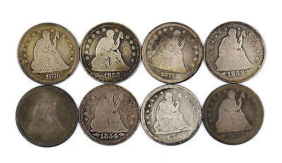 Seated Liberty 90% Silver Quarter Lot Of 8 Us Coins
