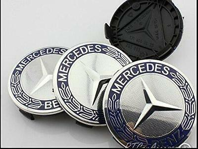 Alloy Wheel Centre Caps To Fit Mercedes 75Mm Chrome Blue X 4 Brand New