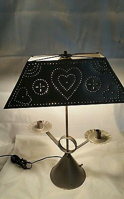 punched tin table lamp with candle holder