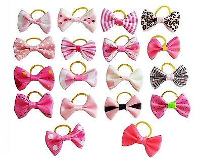 ANIMAL Pink Assorted Pet Dog Cats Hair Bows W/Rubber Bands Headdress Grooming
