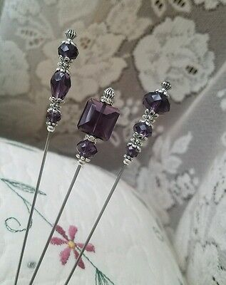 Antique Vintage Inspired Victorian Hat Pins Purple Crystal Beads Clutch Included
