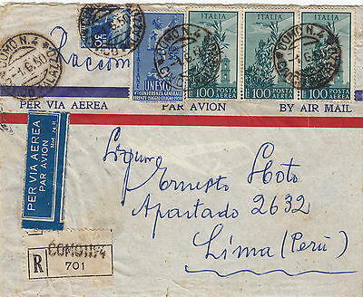 ITALY   (r325) 1950 reg.let. st. air mail from Como to PERU