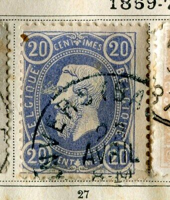 BELGIUM;  1869 early classic Leopold issue used 20c. value