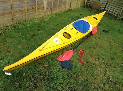 Solid Canoe entry level sit in kayak fun on river / sea very stable Yellow 17 Ft